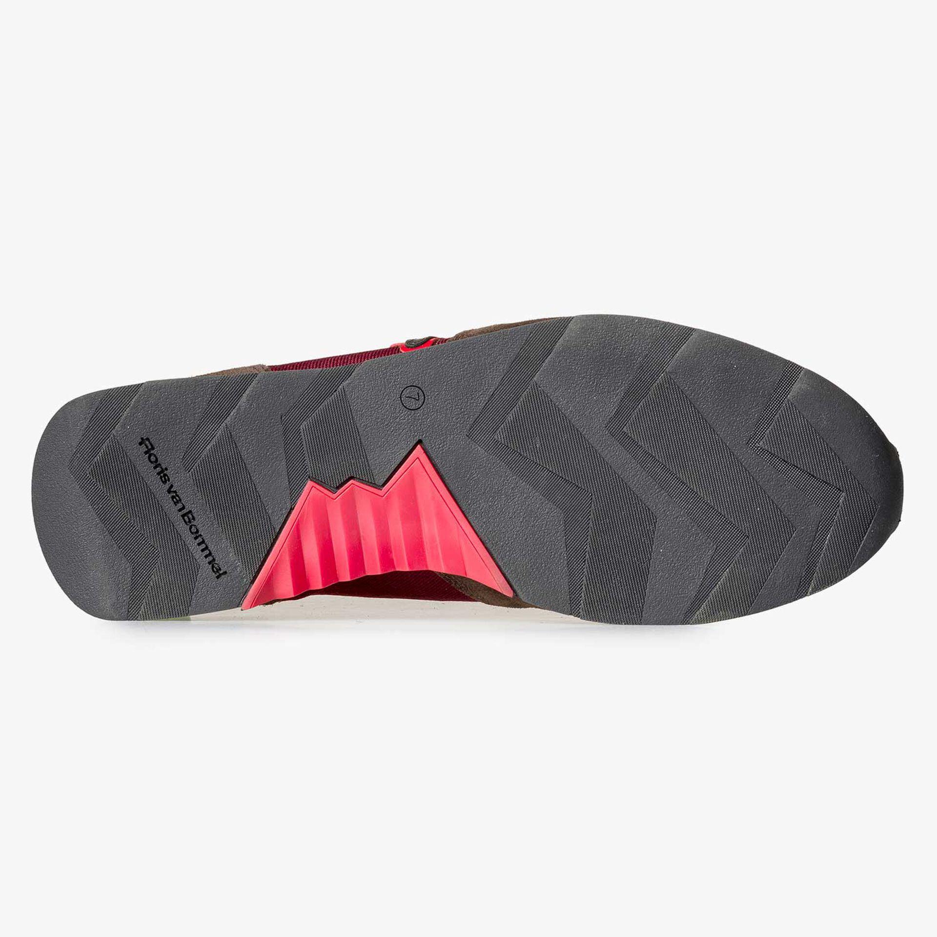 Leren sneaker met canvas donkerrood