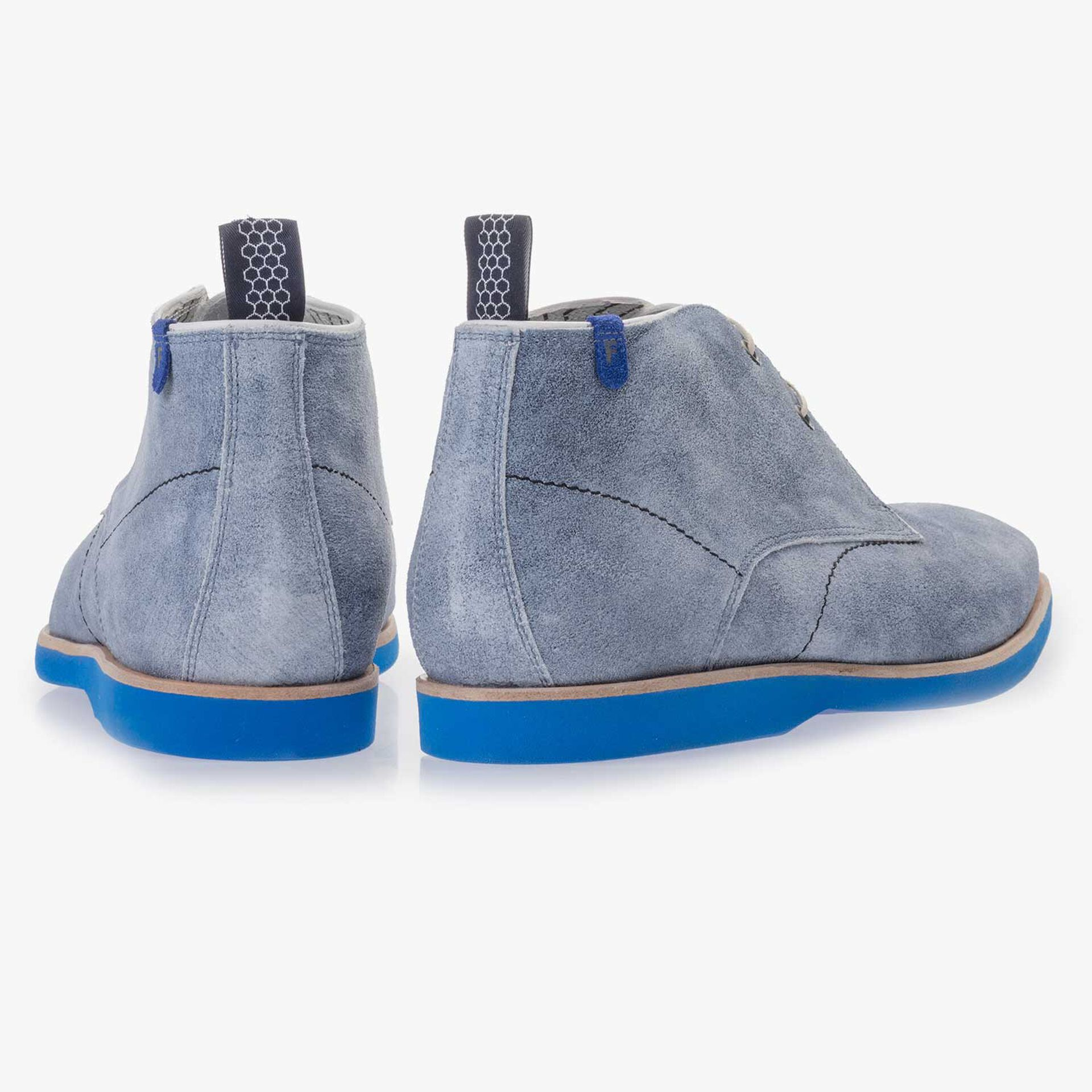 Light blue, washed suede leather lace boot