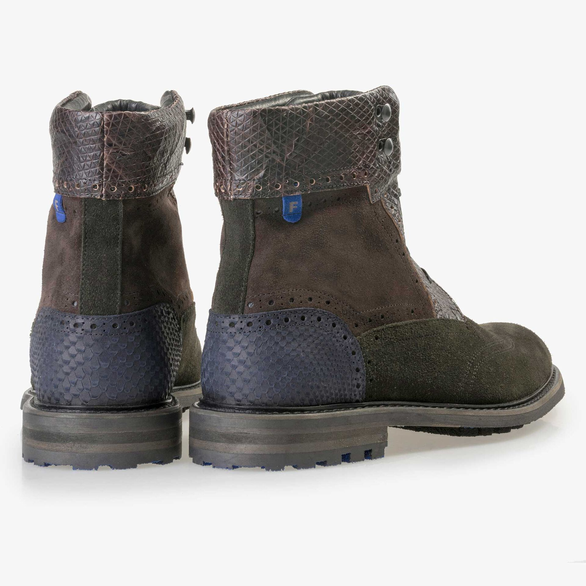 Floris van Bommel dark green high suede leather lace boot