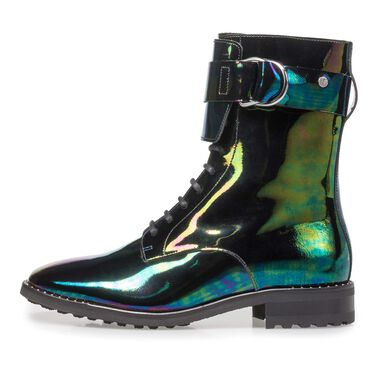 Patent leather lace boot