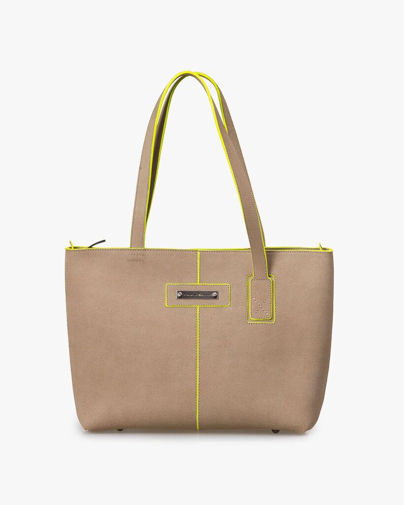 Shoulder bag suede leather beige