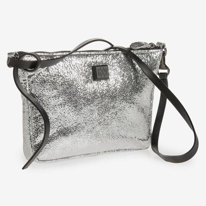 Zilveren leren tas met metallicprint