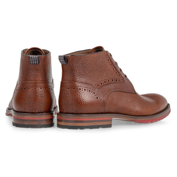 Lace boot structured leather cognac