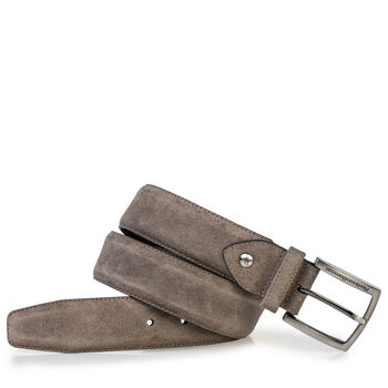 Suede leather belt dark taupe
