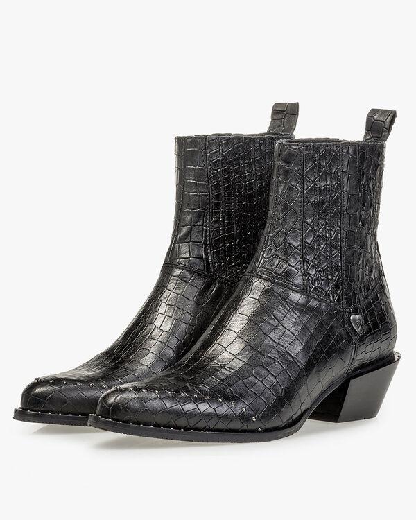 Chelsea boot reptielenprint zwart