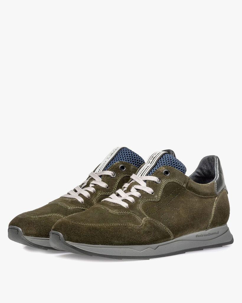 Sneaker suède donkergroen