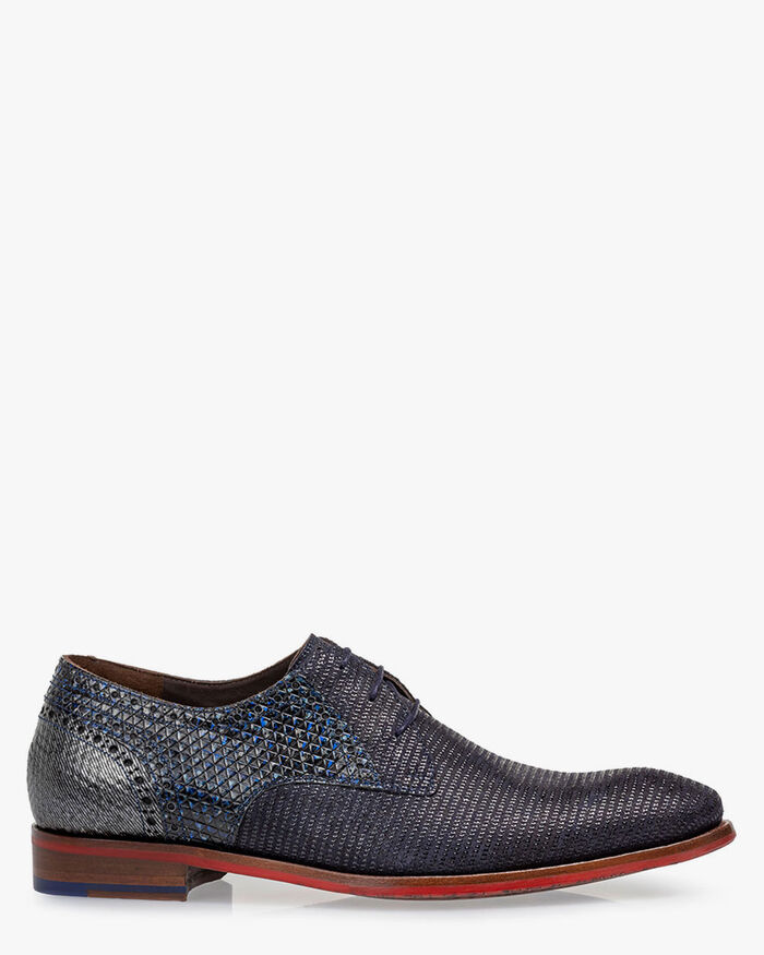 Lace shoe printed suede blue