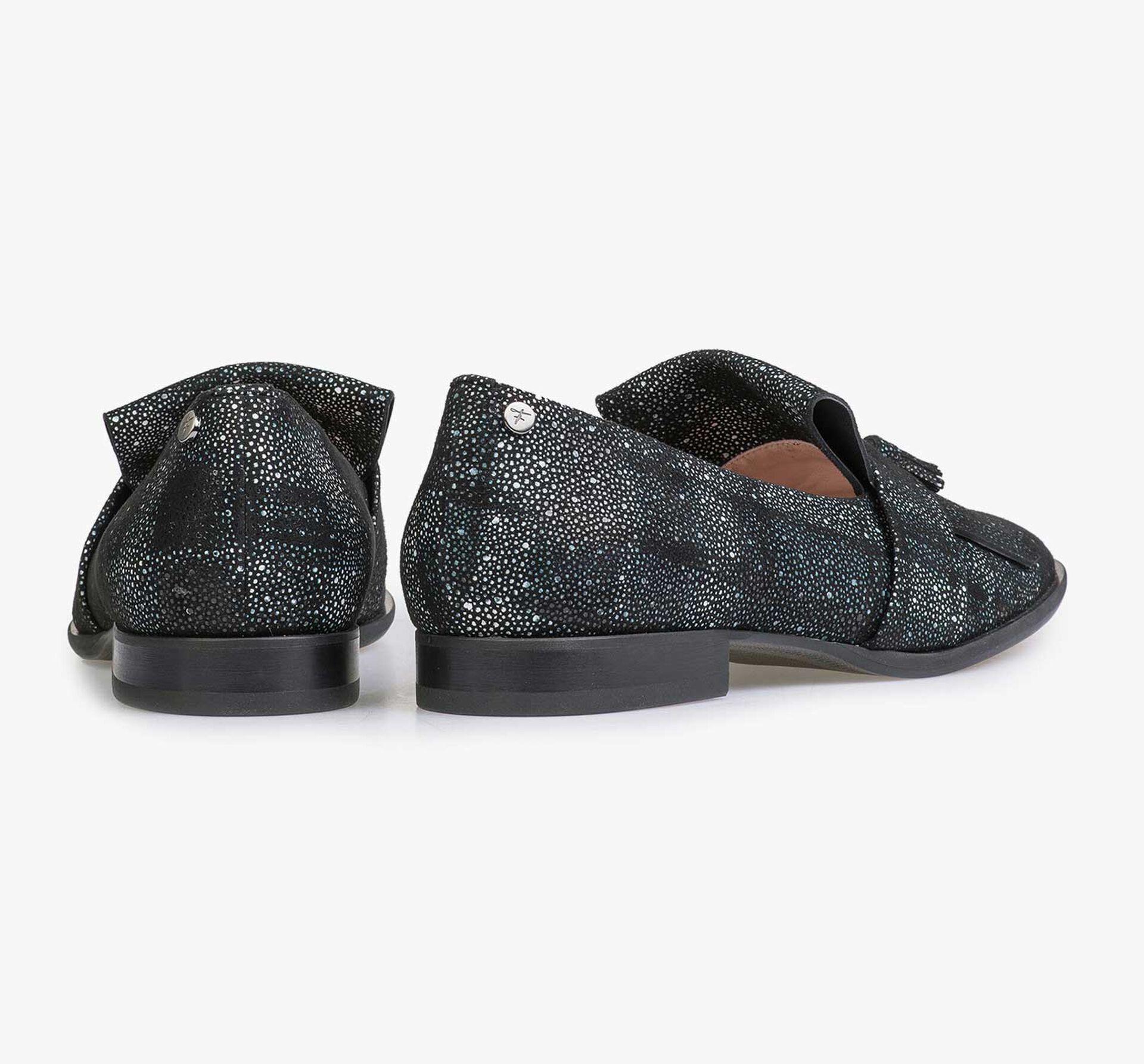 Zwart/blauwe leren loafer met ruitenpatroon