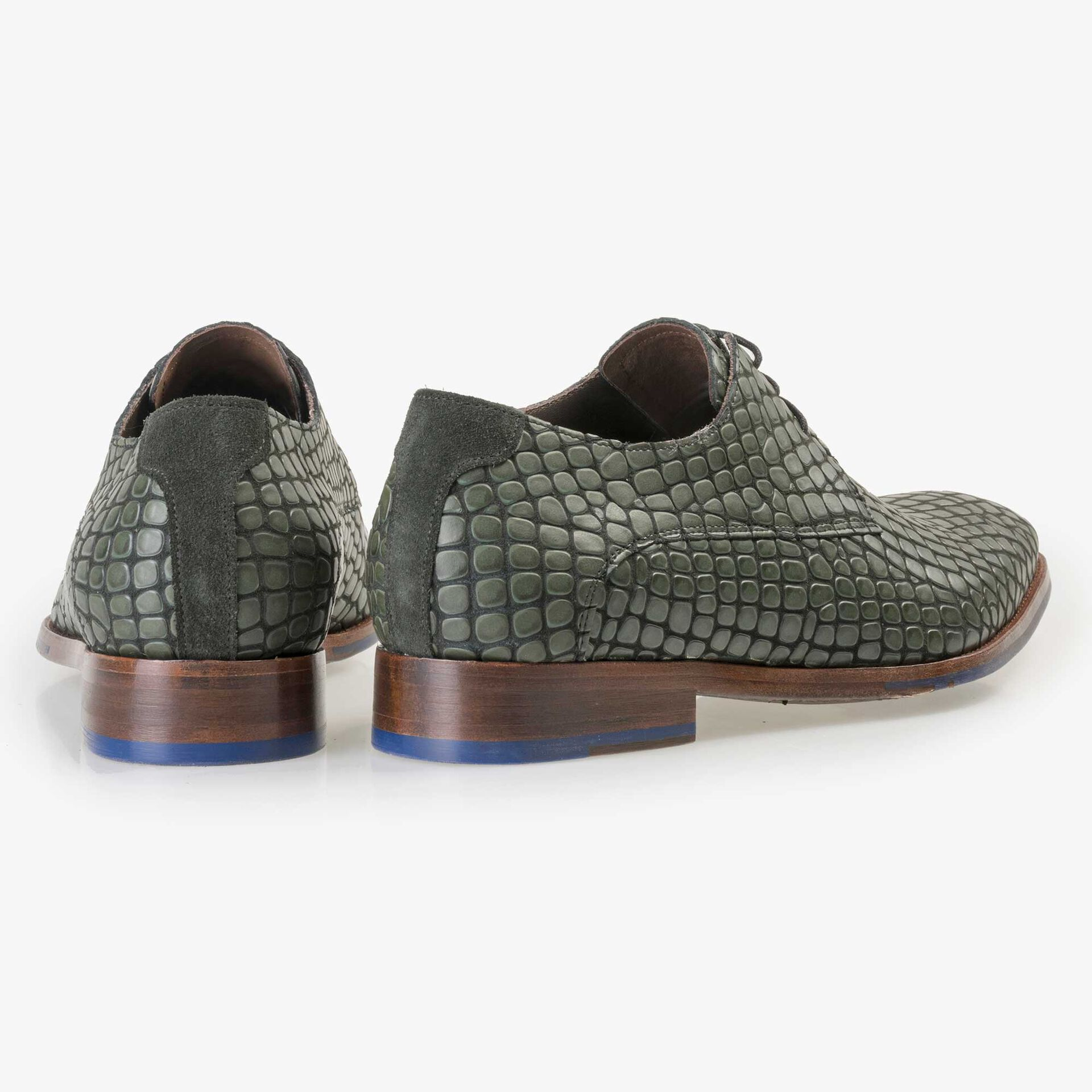 Floris van Bommel black calf's leather lace shoe finished with a green reptile pattern