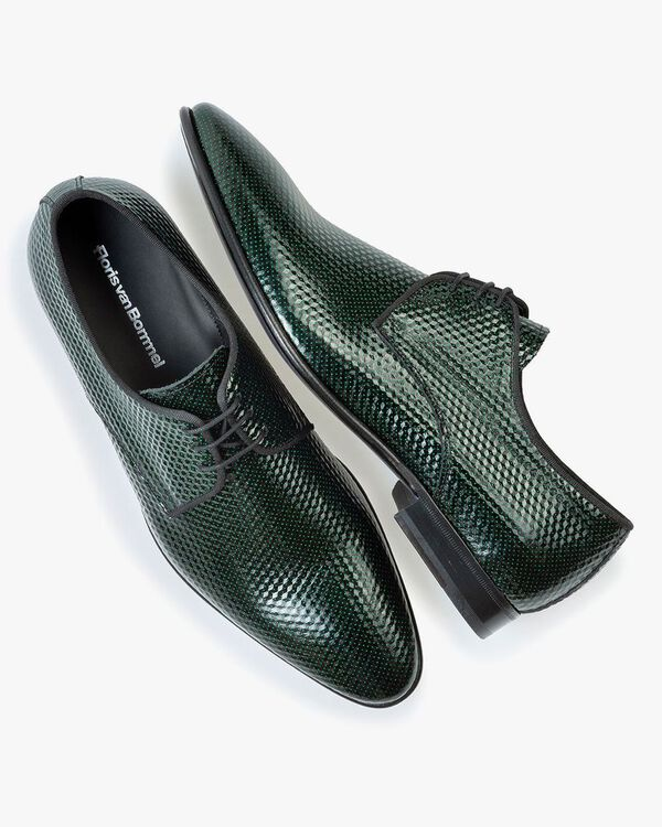 Lace shoe printed leather green