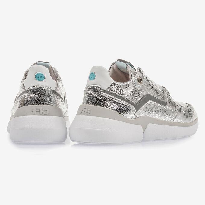 Zilveren leren sneaker met metallicprint