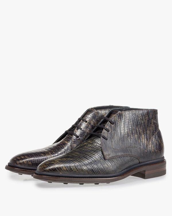 Boot lizardprint donkergroen