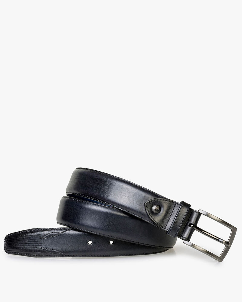 Belt calf leather blue