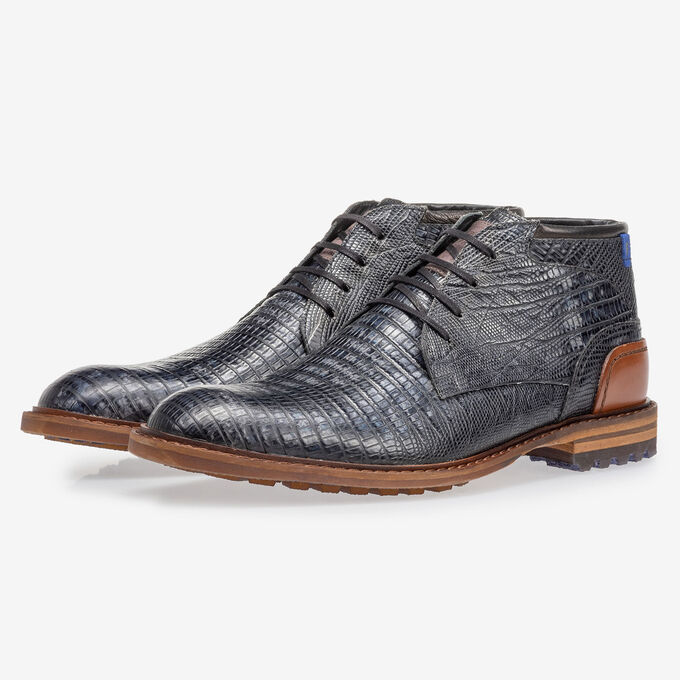 Crepi boot lizard print grey