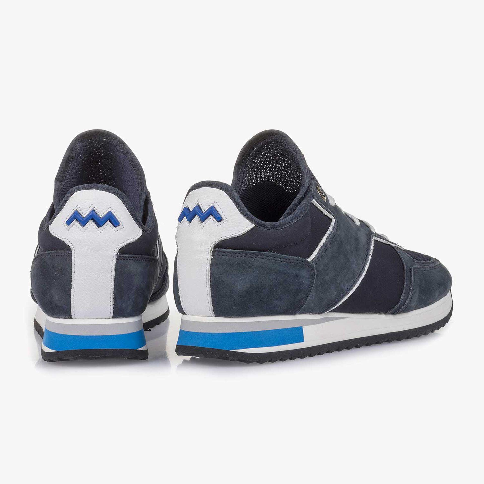 Donkerblauwe nubuckleren sneaker
