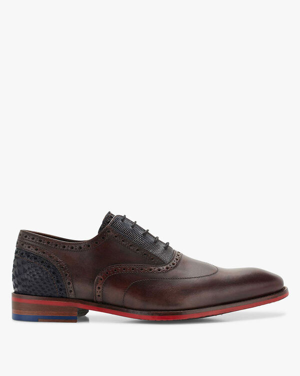 Lace shoe calf leather dark brown