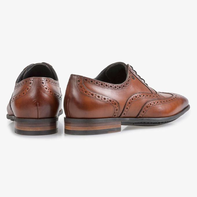 Cognac-coloured calf leather brogue
