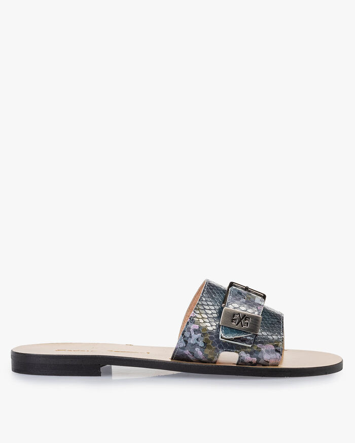 Slipper printed leather blue