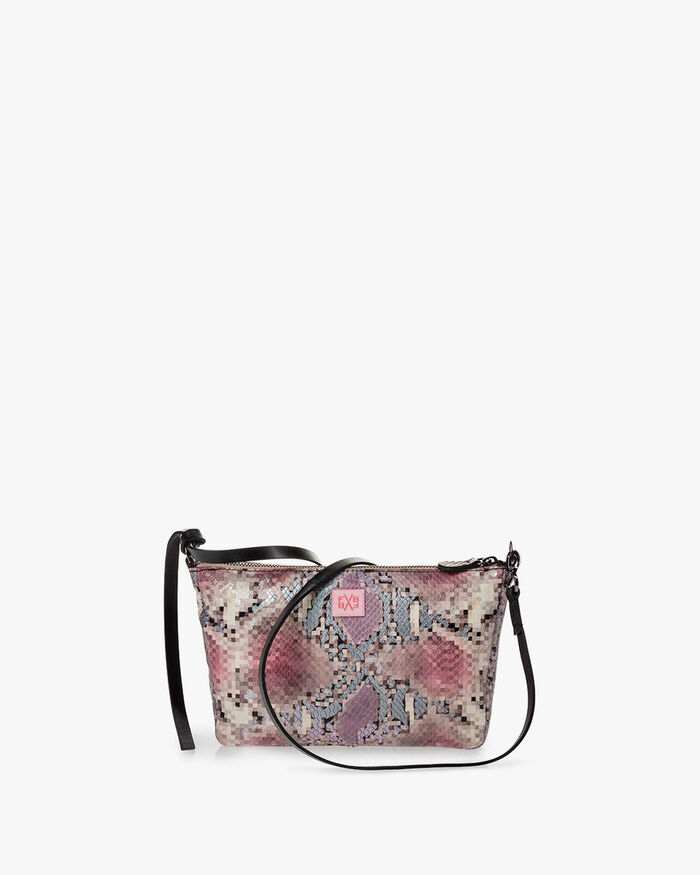 Cross body bag printed leather pink