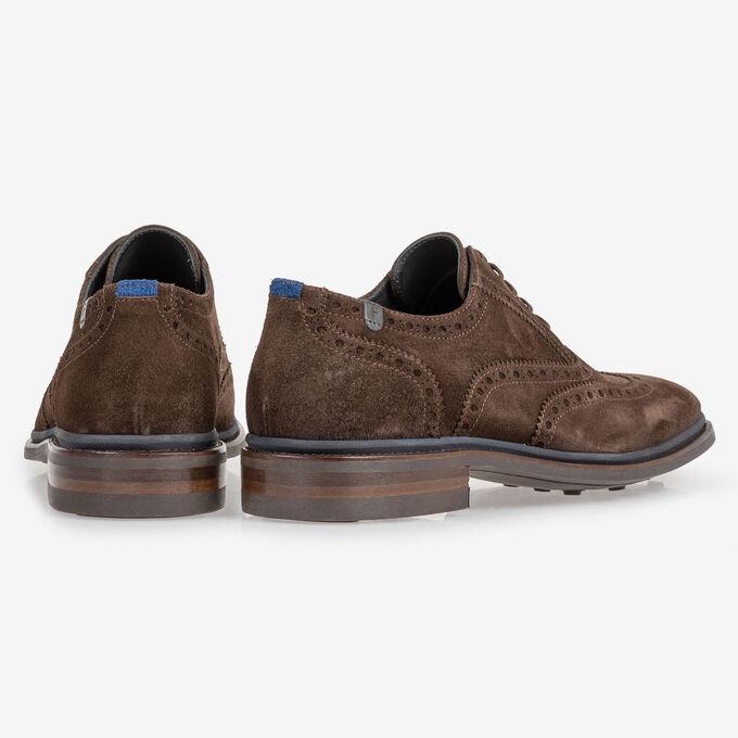 Brogue suede leather dark brown