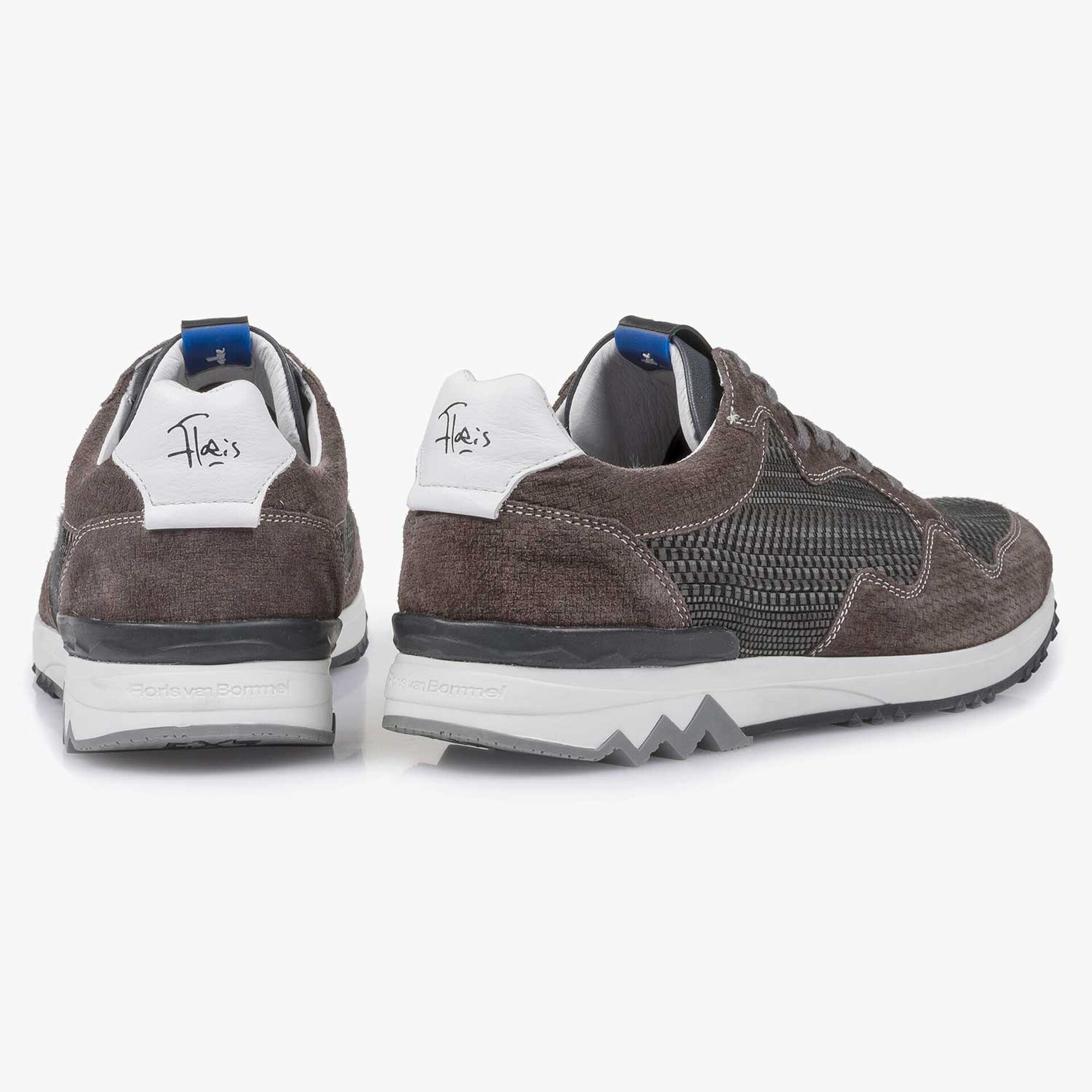 Grey suede leather sneaker with a pattern