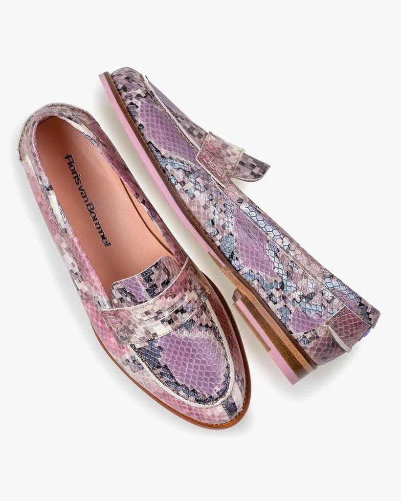 Loafer geprint leer roze