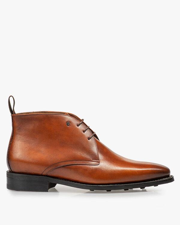 Dark cognac-coloured lace boot