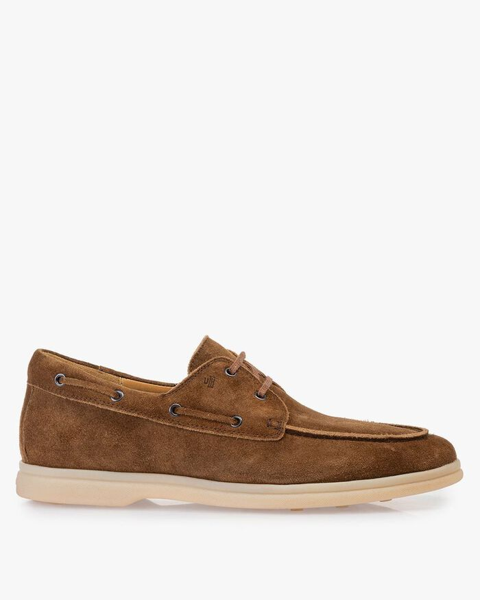 Boat shoe suede leather cognac