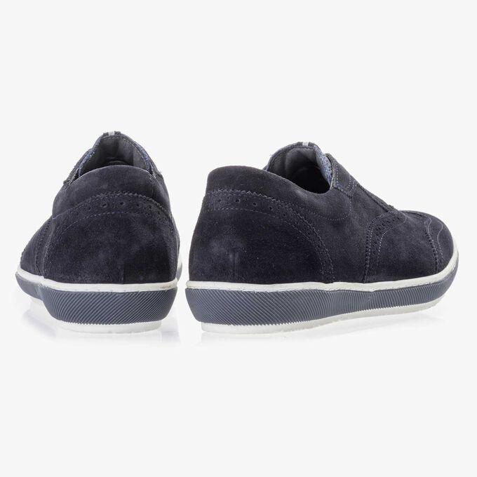 Dark blue suede leather brogue shoe