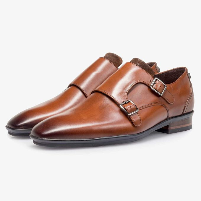 Calf leather double buckle monk strap