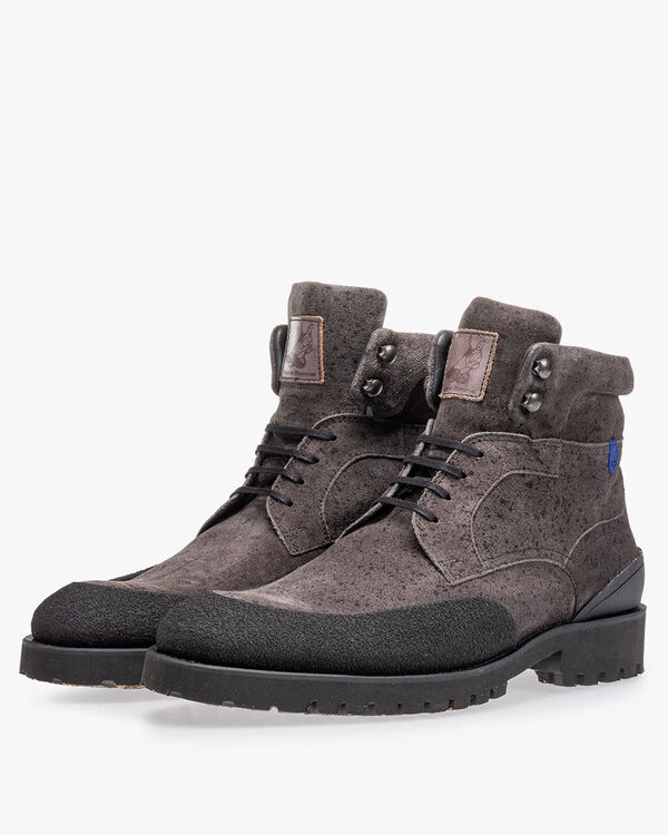 Lace boot grey suede leather