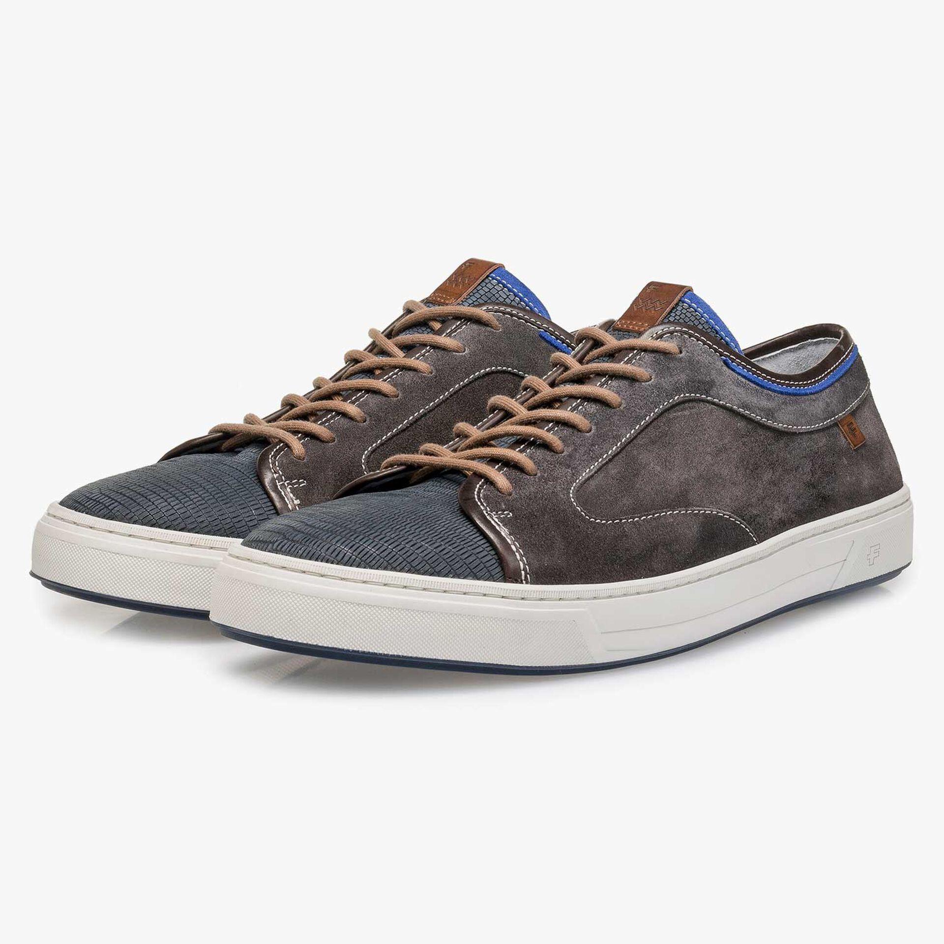 Dark grey calf suede leather sneaker with a lizard print