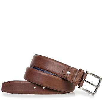Calf leather belt dark brown