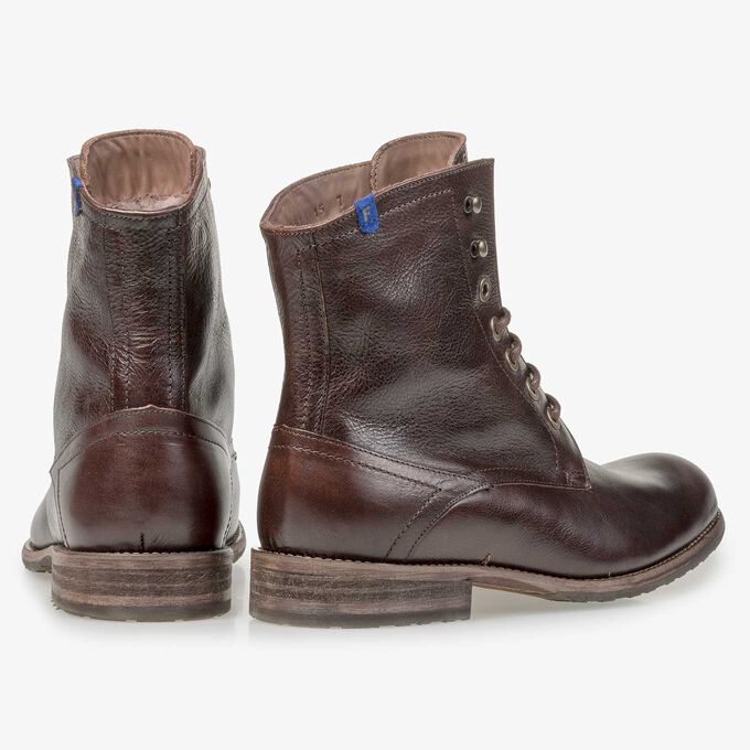Brown lambskin lined calf leather lace boot