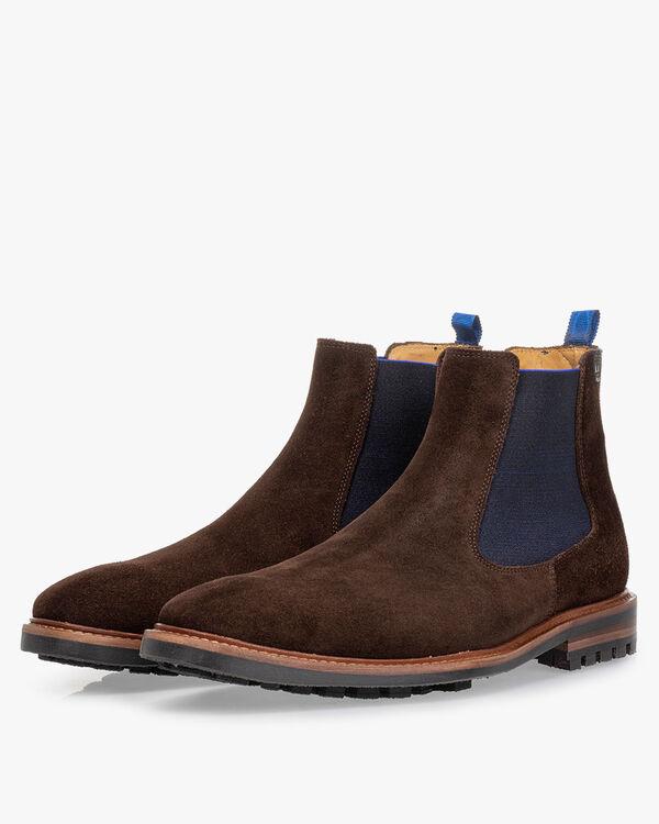 Chelsea boot suède donkerbruin