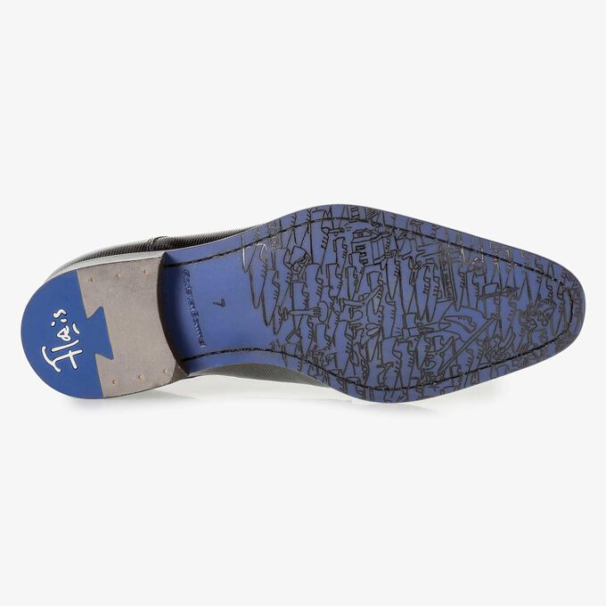 Premium blue printed patent leather lace shoe