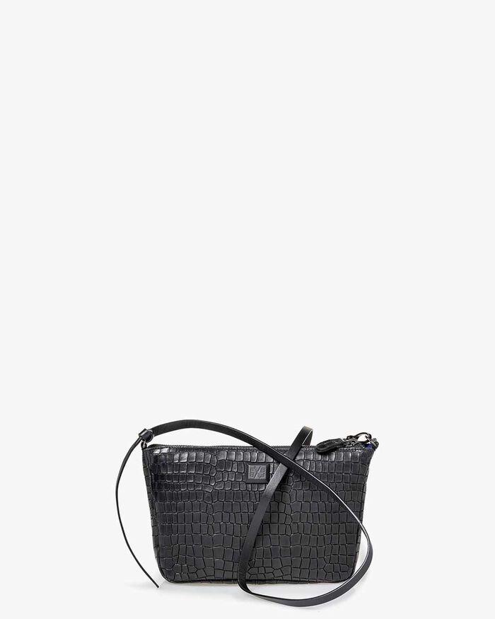 Cross body bag reptile print black