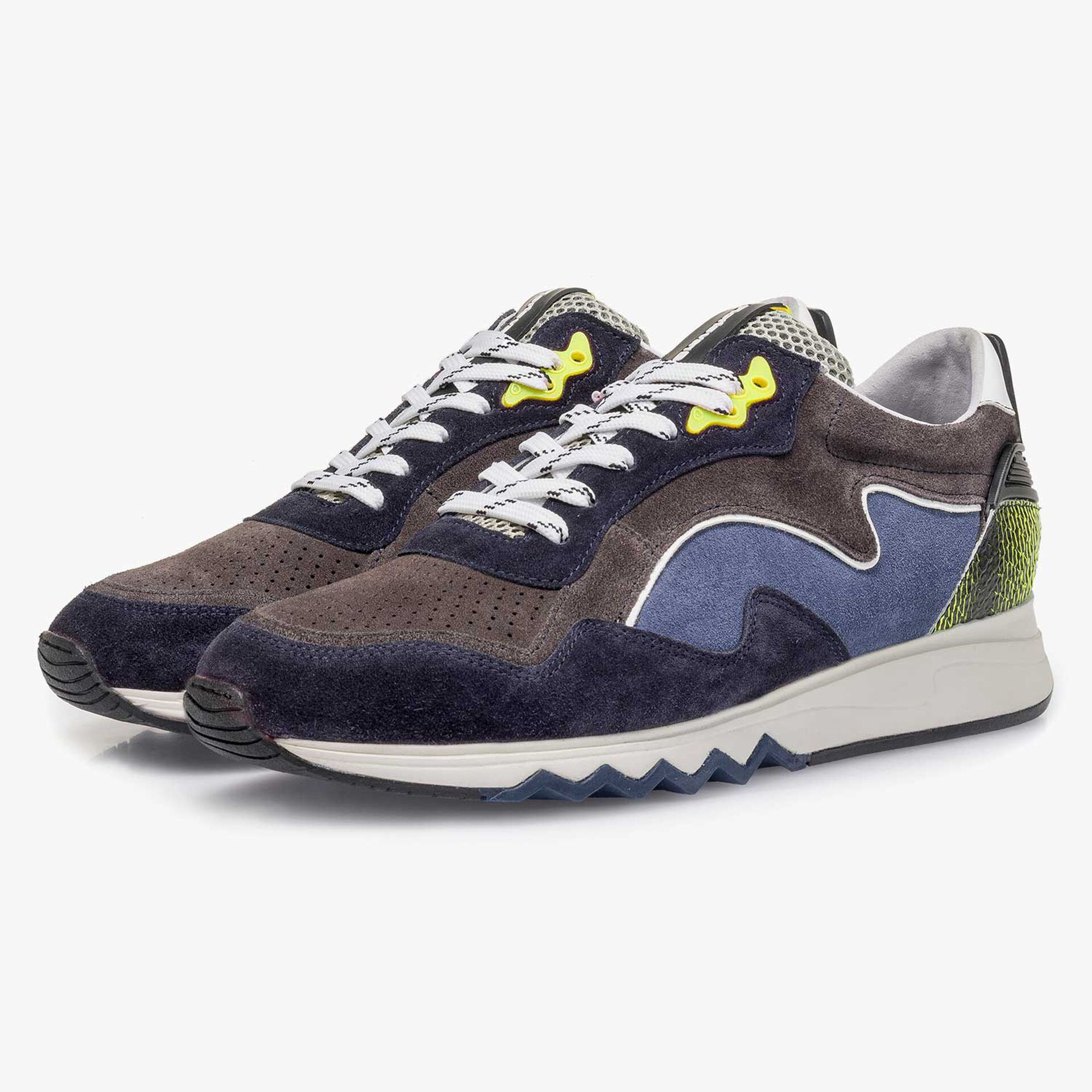 Yellow-blue suede leather sneaker