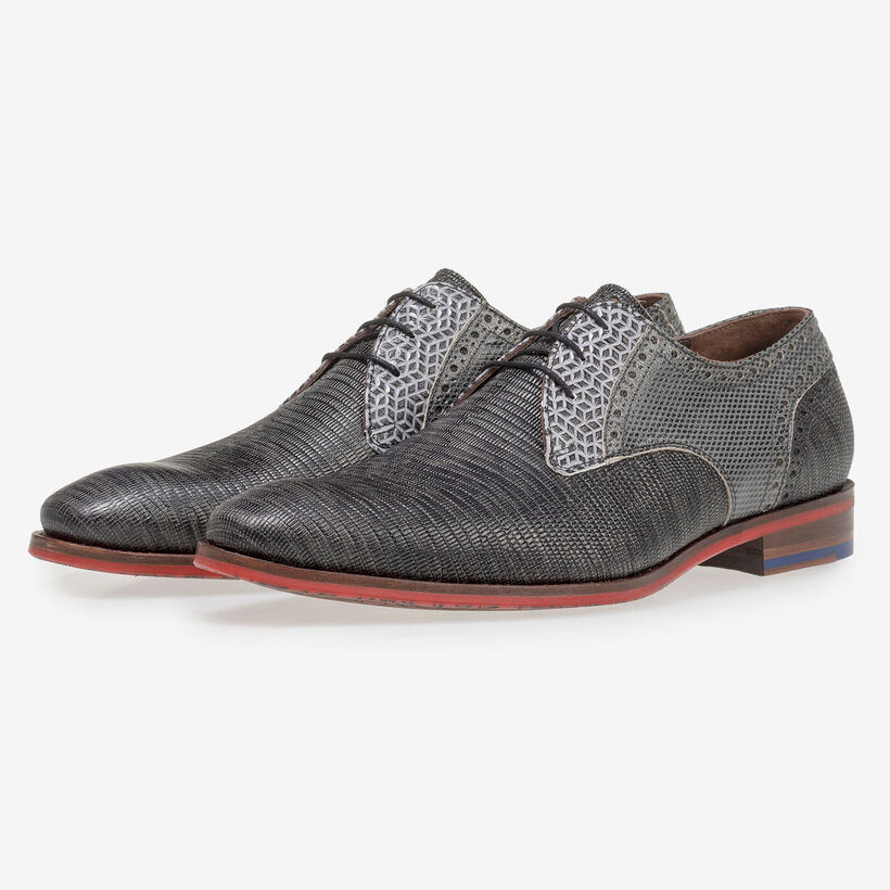 Grey leather lace shoe with lizard print