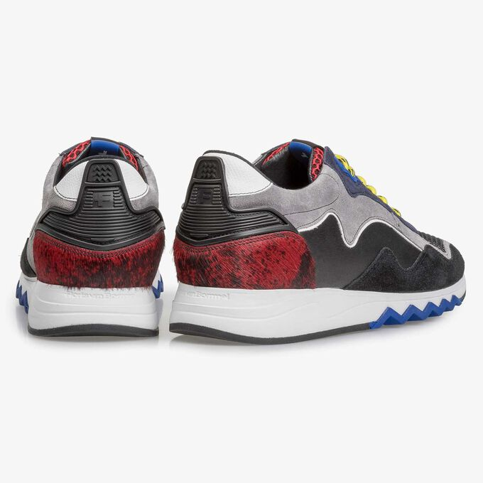 Suède sneaker zwart/rood
