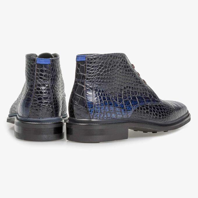 Premium blue croco leather lace shoe