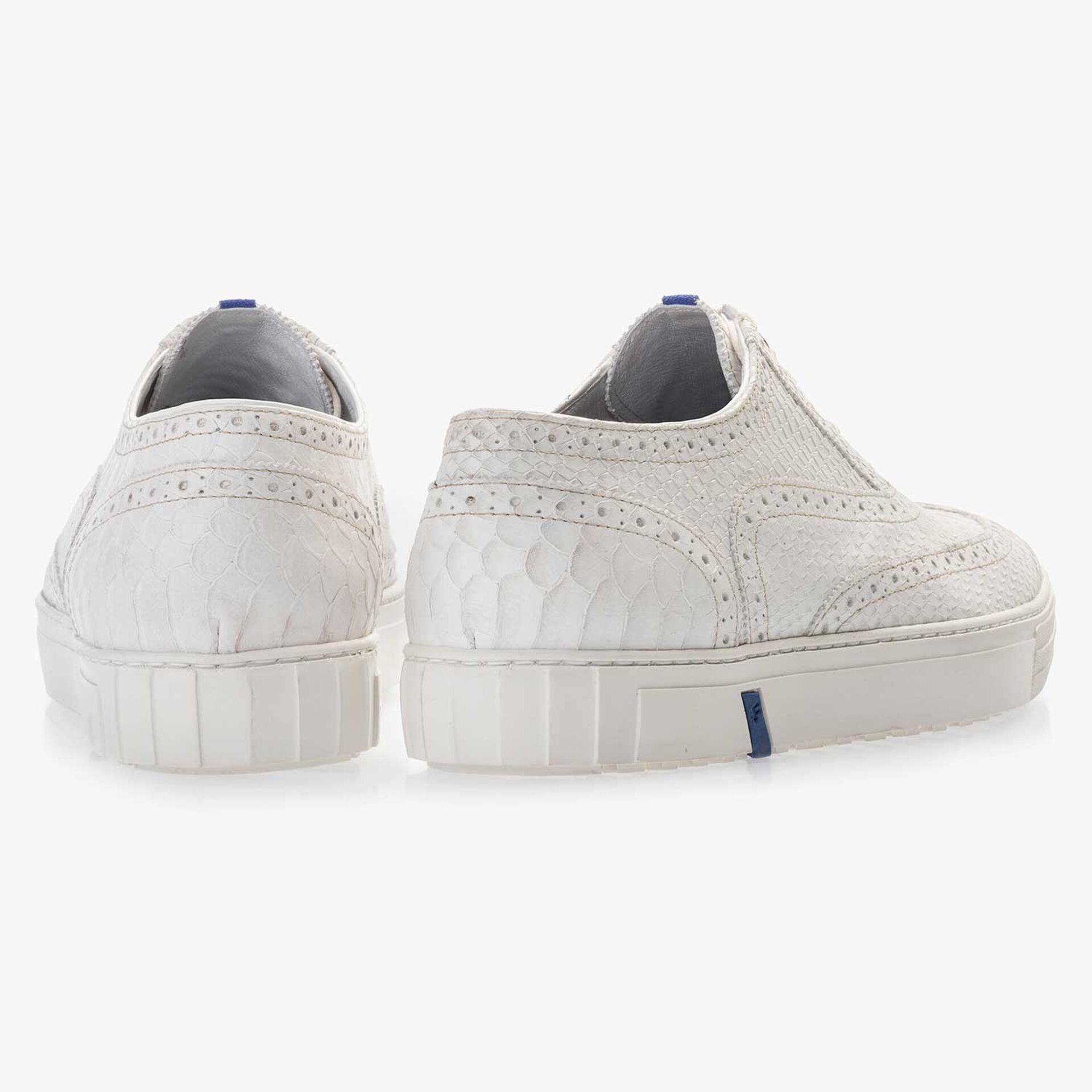 White brogue leather sneaker with a snake print