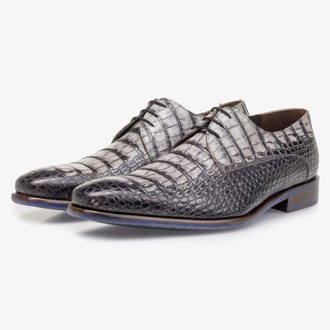 Grey croco print calf leather lace shoe
