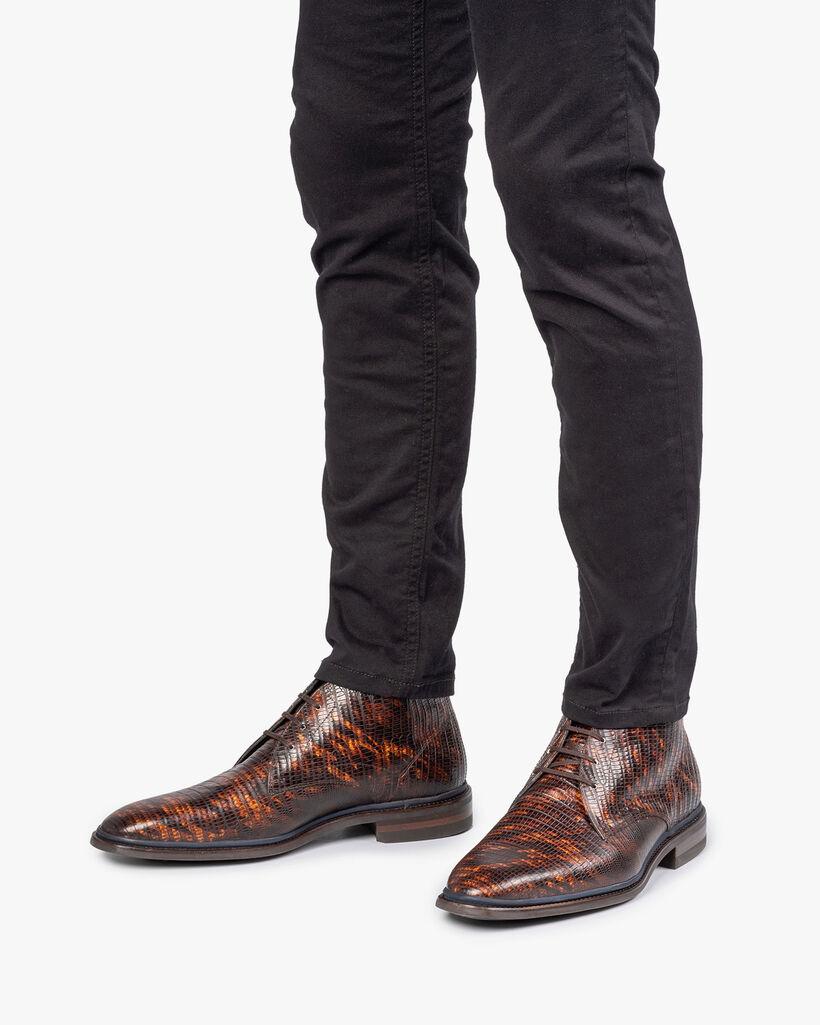 Lace boot lizard print cognac