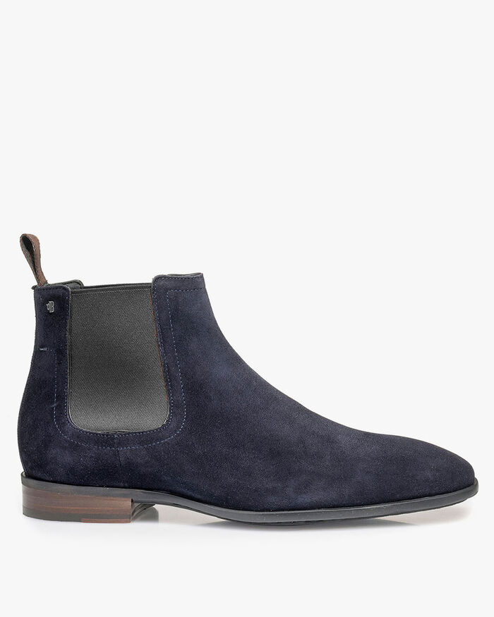 Chelsea boot suede leather blue
