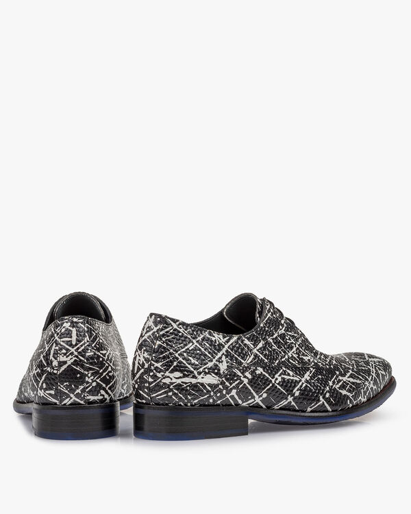 Lace shoe printed leather black/white