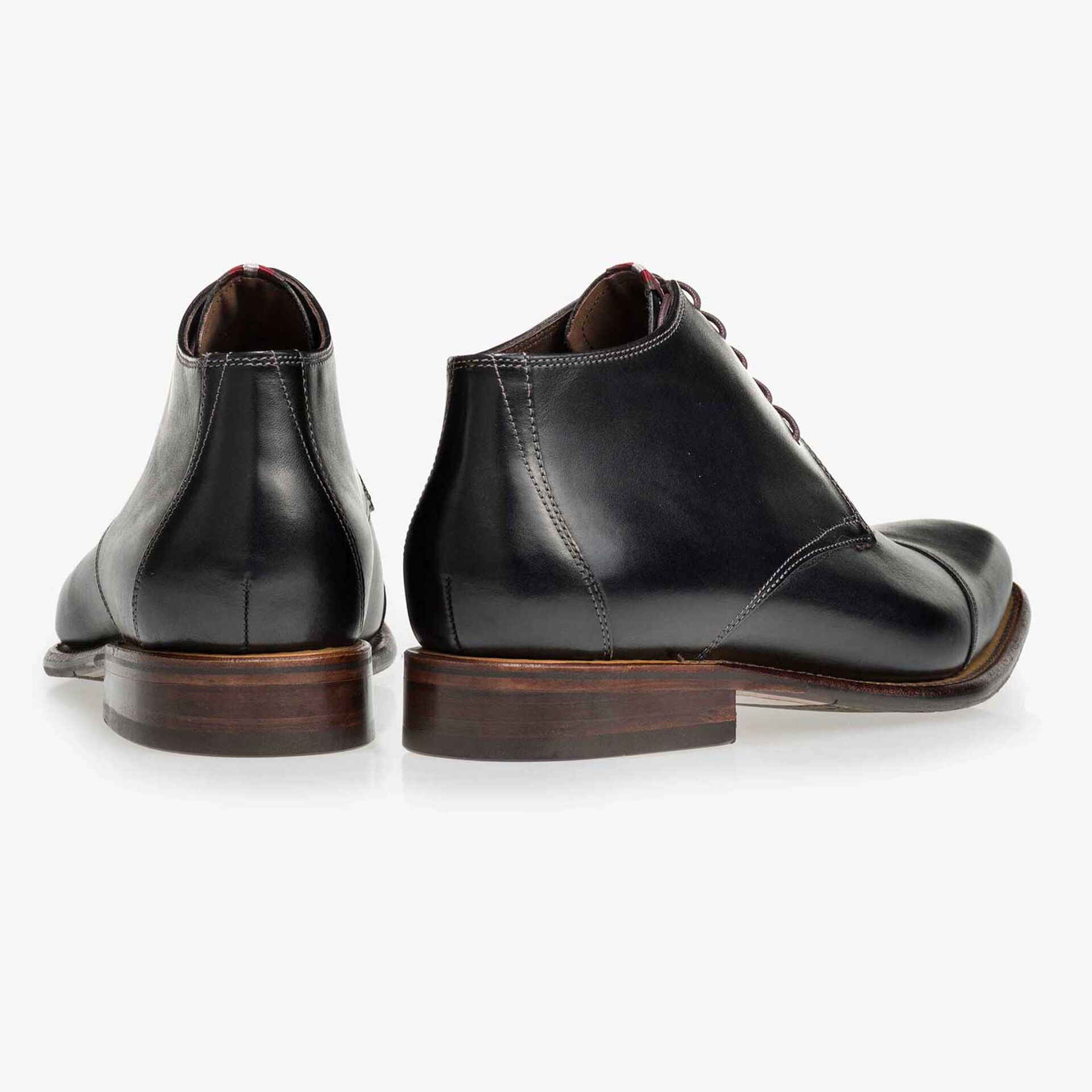 Floris van Bommel black leather half-high men's lace-up boot