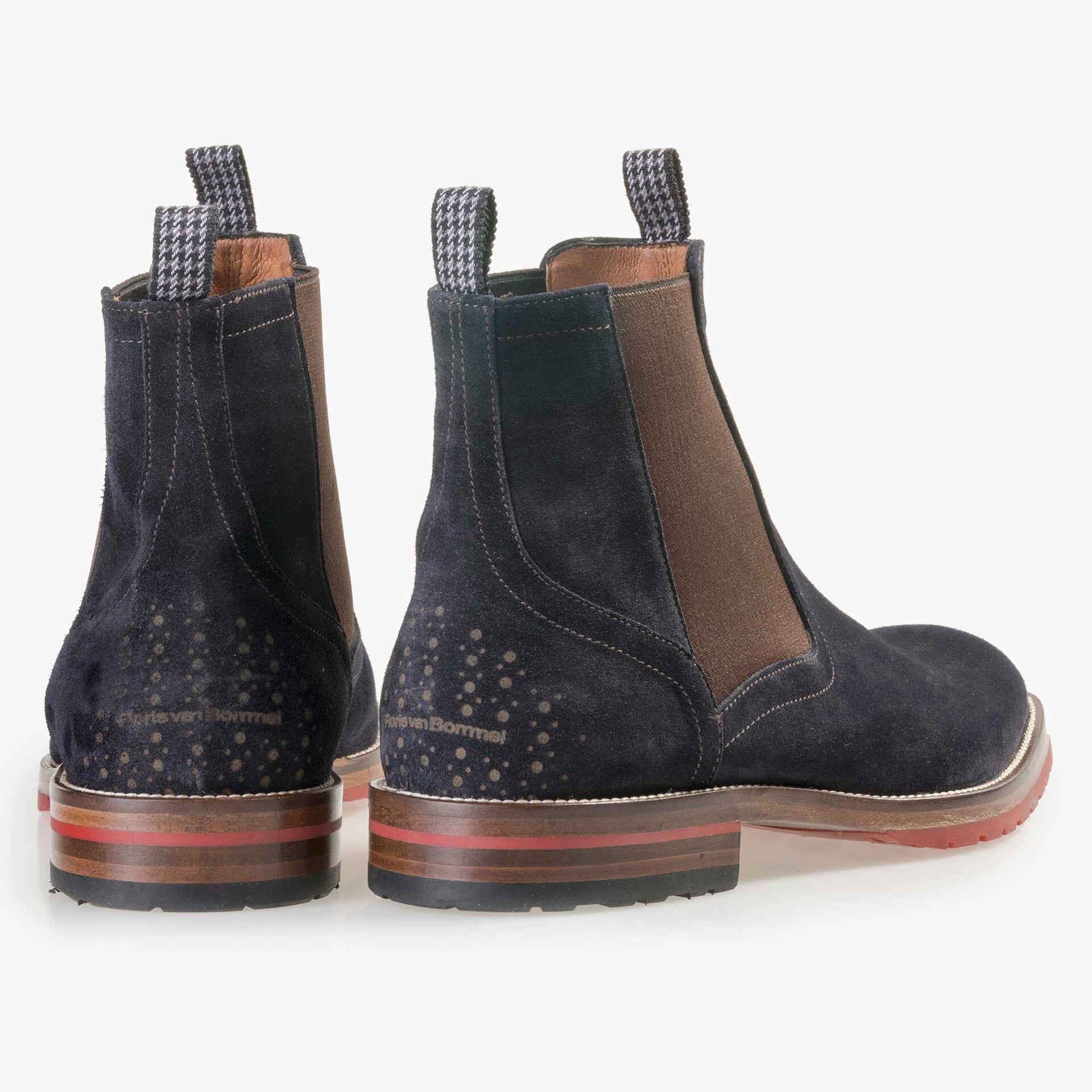 Floris van Bommel men's blue suede leather Chelsea boot