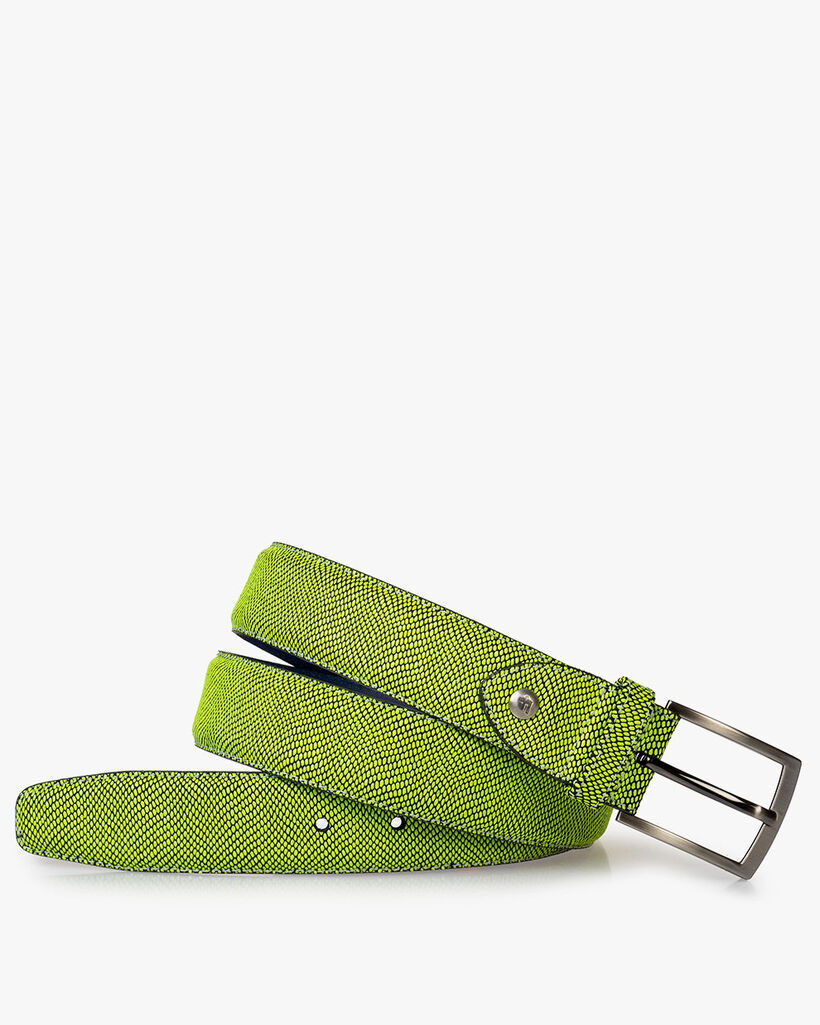 Belt printed suede leather yellow