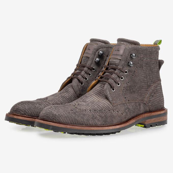 Boot lizardprint grijs